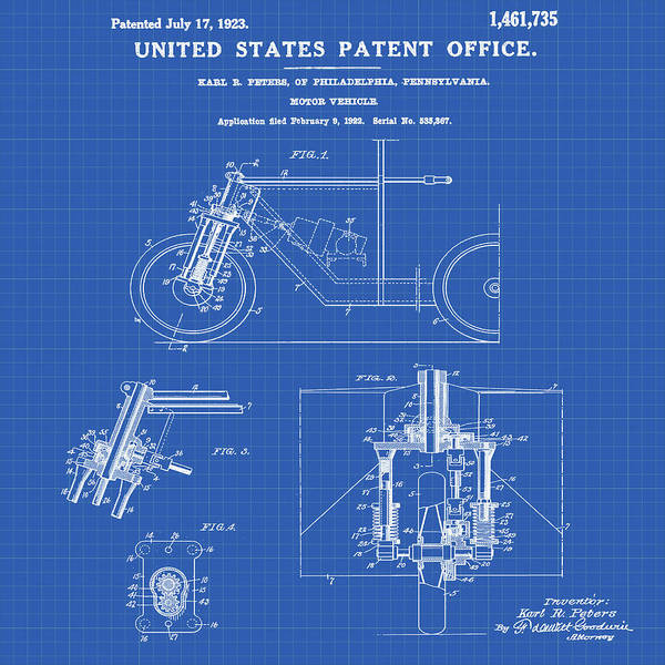 Wall Art - Photograph - 1923 Motorcycle Patent In Blueprint by Bill Cannon