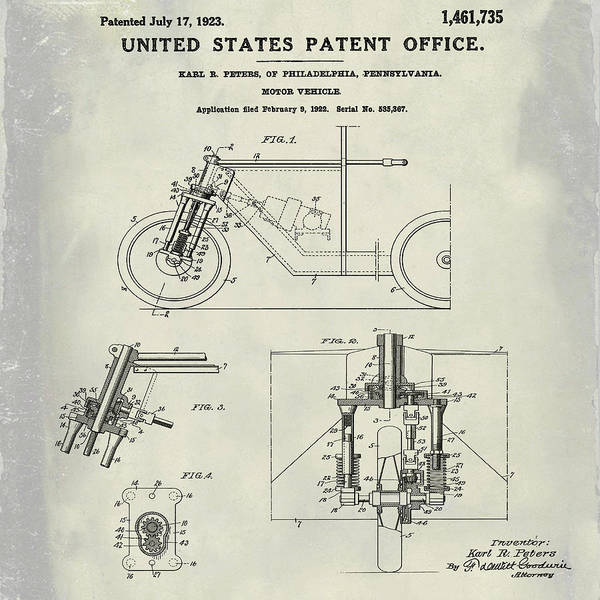 Photograph - 1923 Motorcycle Patent In Weathered by Bill Cannon