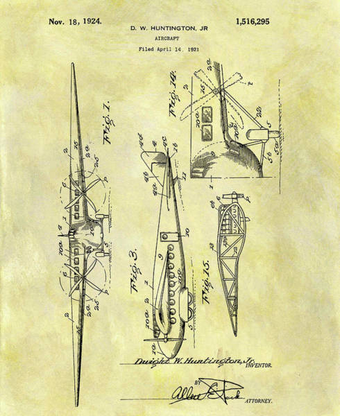 Wall Art - Mixed Media - 1924 Airplane Patent by Dan Sproul