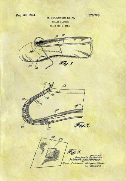 1924 Drawing - 1924 Ballet Slipper by Dan Sproul