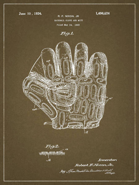 1924 Drawing - 1924 Baseball Glove by Dan Sproul