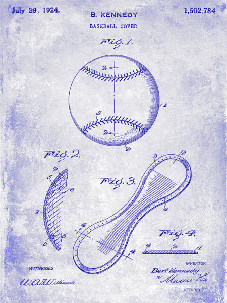 Wall Art - Photograph - 1924 Baseball Patent Blueprint  by Jon Neidert