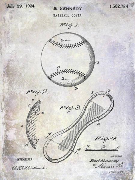 Baseball Bat Patent Wall Art - Photograph - 1924 Baseball Patent by Jon Neidert