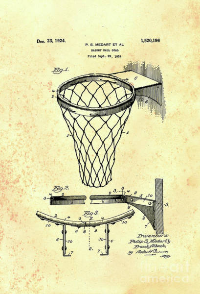 Wall Art - Photograph - 1924 Basketball Goal Patent by John Stephens