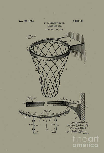 Wall Art - Photograph - 1924 Basketball Goal Patent Silver Bronze by John Stephens