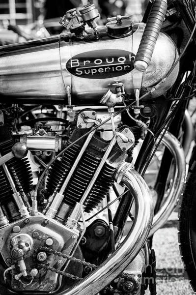 1924 Photograph - 1924 Brough Superior Ktor Brooklands Racer Monochrome by Tim Gainey