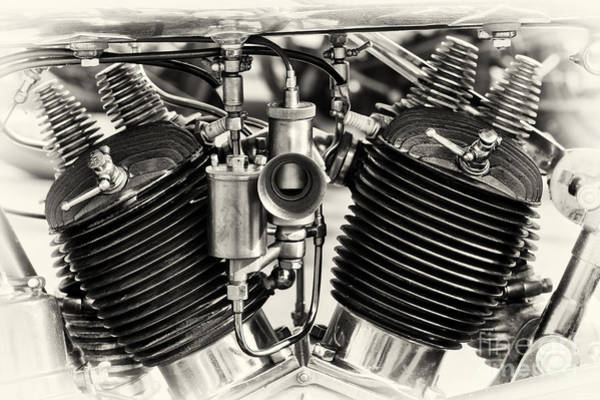 Photograph - 1924 Brough Superior Ss80 Engine Sepia by Tim Gainey