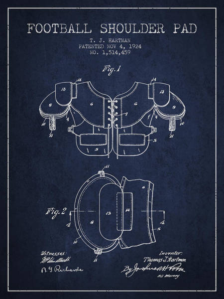 American Football Digital Art - 1924 Football Shoulder Pad Patent - Navy Blue by Aged Pixel