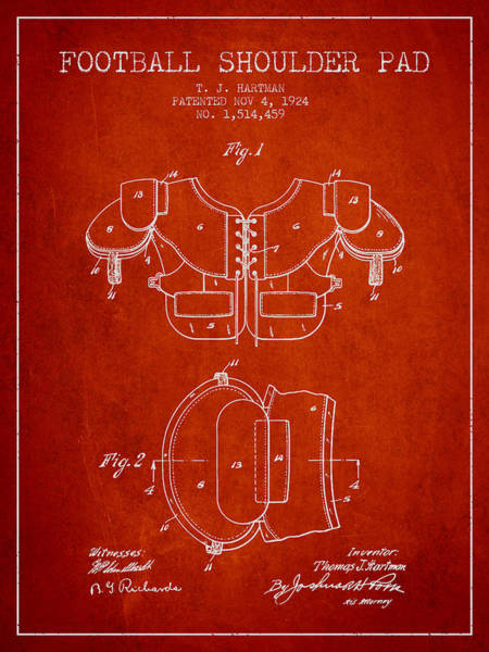 American Football Digital Art - 1924 Football Shoulder Pad Patent - Red by Aged Pixel