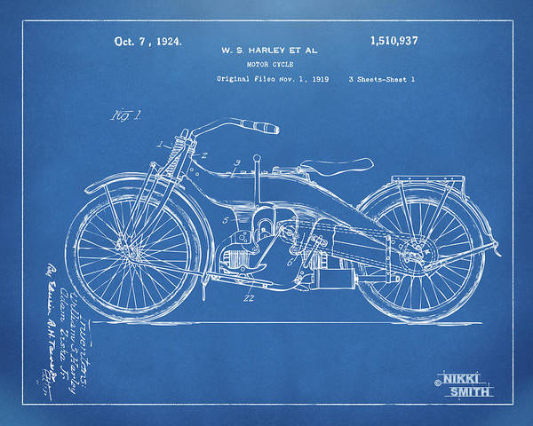 Digital Art - 1924 Harley Motorcycle Patent Artwork Blueprint by Nikki Marie Smith