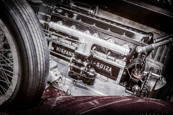 Photograph - 1924 Hispano-suiza H6b Dual  Cowl Sport Phaeton Engine Emblem -0258ac by Jill Reger