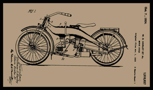 Painting - 1924 Motorcycle Patent Drawing by W S Harley