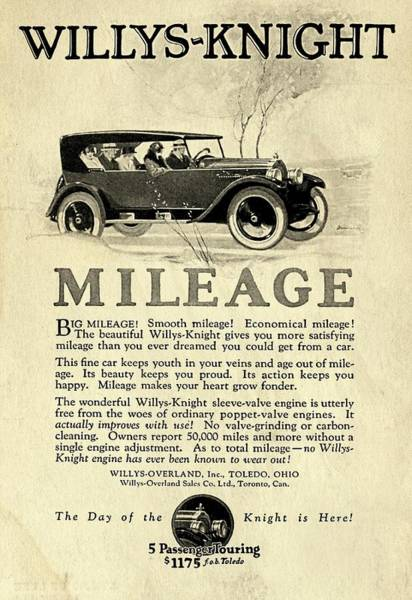 Digital Art - 1924 Willys Knight Advertiesment Distressed by David King