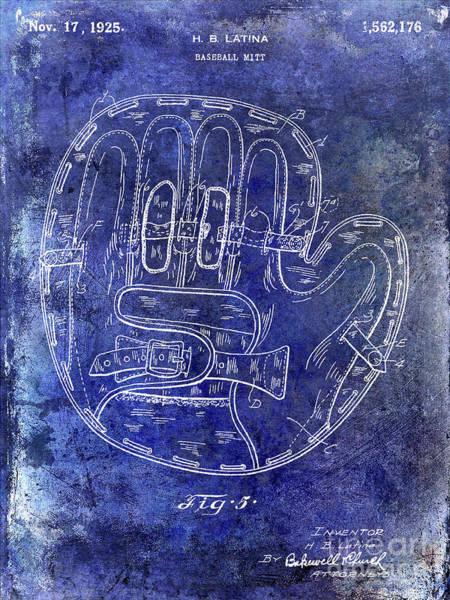 Baseball Bat Patent Wall Art - Photograph - 1925 Baseball Glove Patent Blue by Jon Neidert