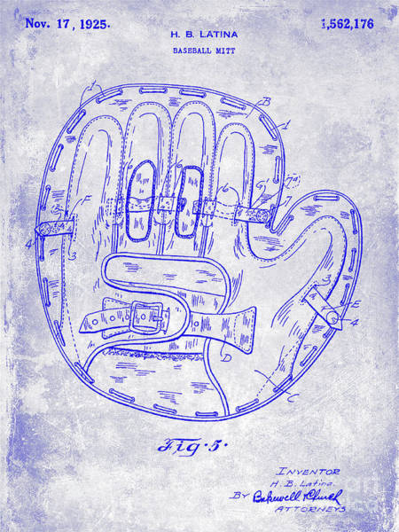 Wall Art - Photograph - 1925 Baseball Glove Patent Blueprint by Jon Neidert