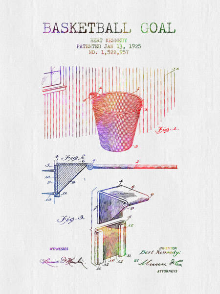 Wall Art - Digital Art - 1925 Basketball Goal Patent - Color by Aged Pixel