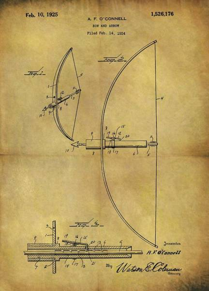Drawing - 1925 Bow And Arrow Patent by Dan Sproul
