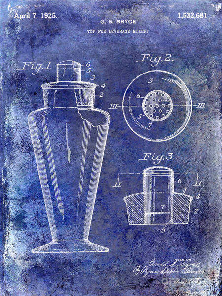 Cocktail Shaker Photograph - 1925 Cocktail Shaker Patent Blue by Jon Neidert