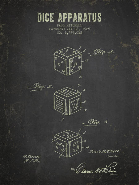 Dice Digital Art - 1925 Dice Apparatus Patent - Dark Grunge by Aged Pixel