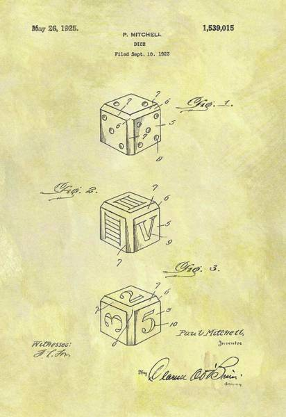 Drawing - 1925 Dice Cube Patent by Dan Sproul