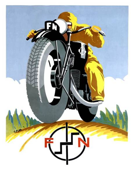 Wall Art - Digital Art - 1925 Fn Motorcycles Advertising Poster by Retro Graphics