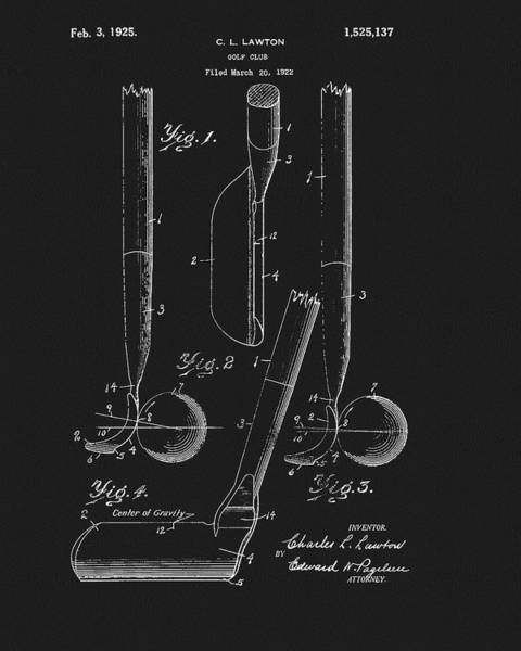 Wall Art - Drawing - 1925 Lawton Golf Club Patent by Dan Sproul