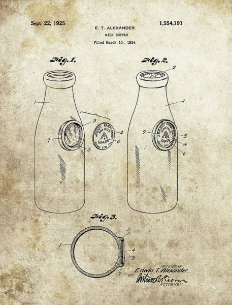 Wall Art - Mixed Media - 1925 Milk Bottle Patent by Dan Sproul