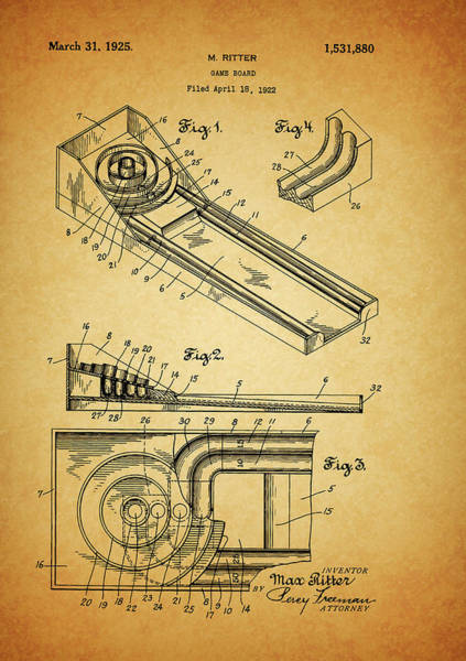 Mixed Media - 1925 Skee Ball Patent by Dan Sproul