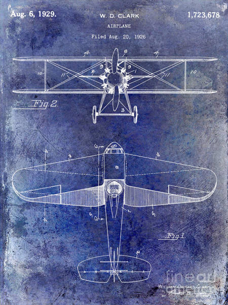 Patent Drawing Wall Art - Photograph - 1929 Airplane Patent Blue by Jon Neidert