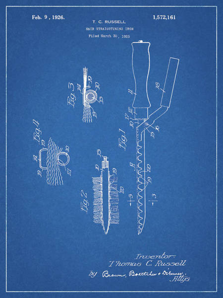 Iron Drawing - 1926 Curling Iron Patent by Dan Sproul