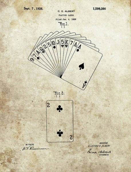 Drawing - 1926 Deck Of Cards Patent by Dan Sproul