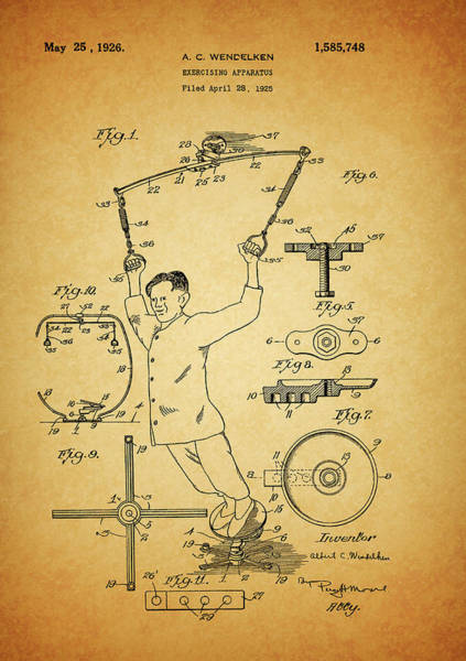 Fitness Mixed Media - 1926 Exercise Machine Patent by Dan Sproul