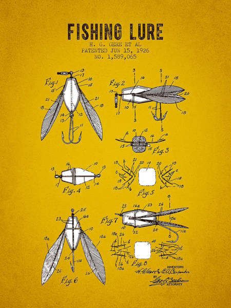 Wall Art - Digital Art - 1926 Fishing Lure Patent - Yellow Brown by Aged Pixel