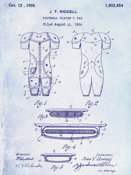 Ohio State Football Photograph - 1926 Football Patent Blueptint by Jon Neidert