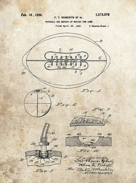 Nfl Drawing - 1926 Football Patent Illustration by Dan Sproul