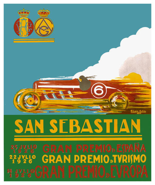 Autosport Wall Art - Digital Art - 1926 San Sebastian Grand Prix Racing Poster by Retro Graphics