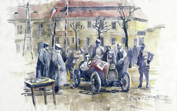 Wall Art - Painting - 1922 Zbraslav Jiloviste Start Bugatti T13 Brescia. by Yuriy Shevchuk