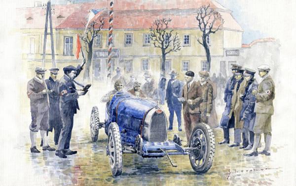 Wall Art - Painting - 1926 Zbraslav Jiloviste Start Bugatti T35b Cenek Junek Elisabeth Junek  by Yuriy Shevchuk