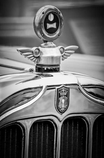 Chandler Photograph - 1927 Chandler 4-door Hood Ornament - Moto Meter -2286bw by Jill Reger