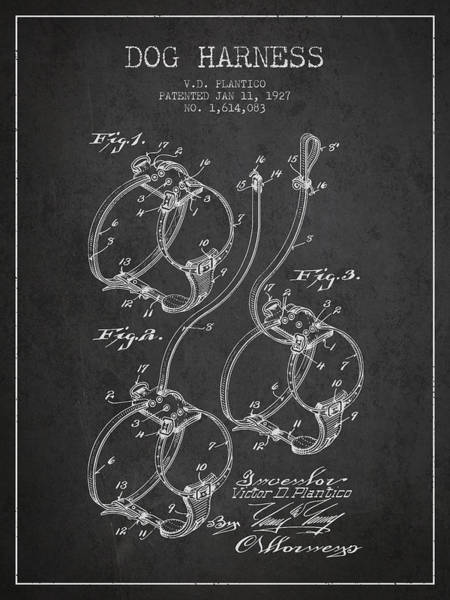 Wall Art - Digital Art - 1927 Dog Harness Patent - Charcoal by Aged Pixel