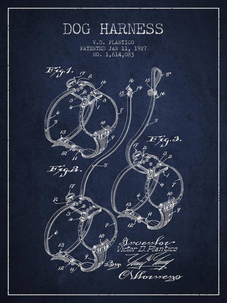 Wall Art - Digital Art - 1927 Dog Harness Patent - Navy Blue by Aged Pixel