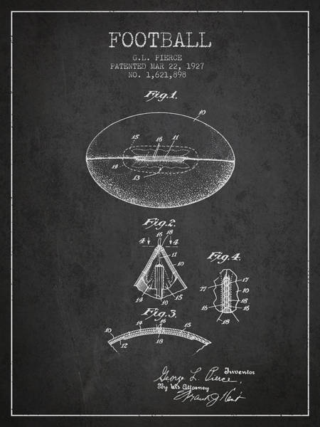 American Football Digital Art - 1927 Football Patent - Charcoal by Aged Pixel