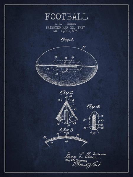 American Football Digital Art - 1927 Football Patent - Navy Blue by Aged Pixel