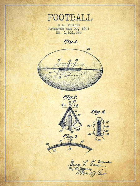 American Football Digital Art - 1927 Football Patent - Vintage by Aged Pixel