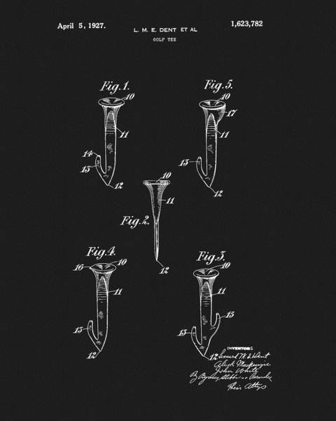Wall Art - Drawing - 1927 Golf Tee Patent by Dan Sproul