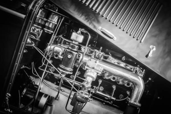 Photograph - 1927 Marmon E75 Speedster Engine -0314bw by Jill Reger