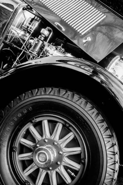 Photograph - 1927 Marmon E75 Speedster Wheel - Engine -0324bw by Jill Reger