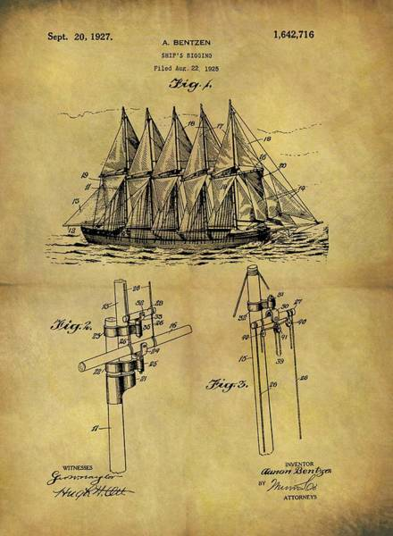 Drawing - 1927 Sail Ship Patent by Dan Sproul