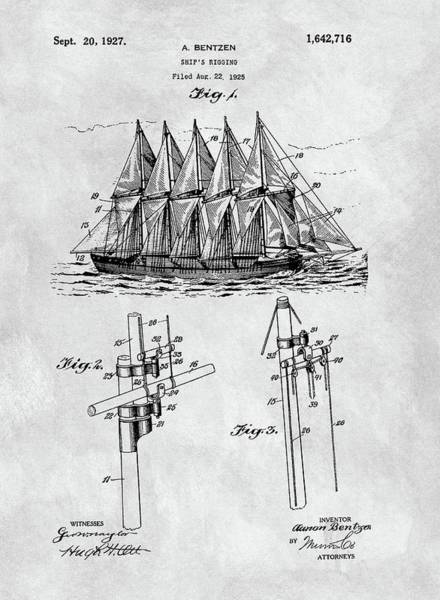 Drawing - 1927 Sailing Ship Patent Charcoal by Dan Sproul