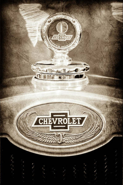 Photograph - 1928 Chevrolet 2 Door Coupe Hood Ornament Moto Meter -0789s by Jill Reger